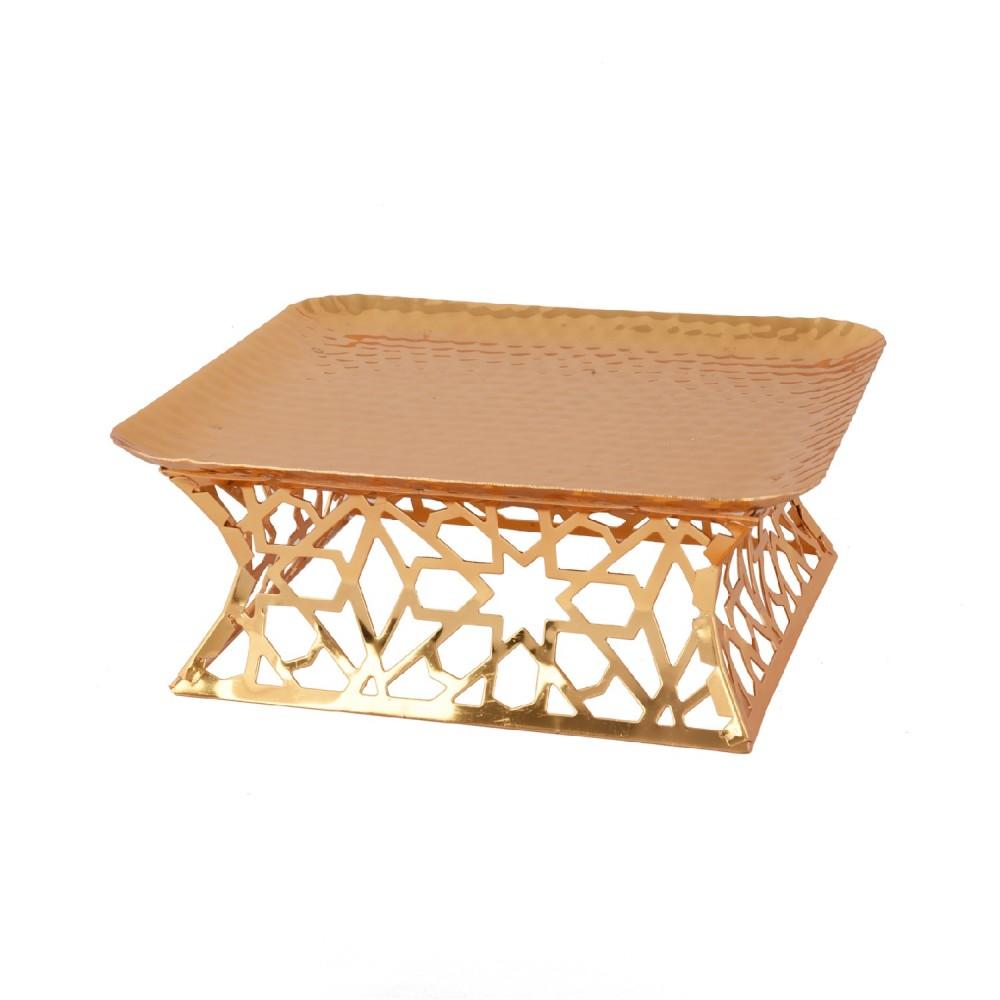 صحن تقديم مربع وسط استيل ذهبي 307458