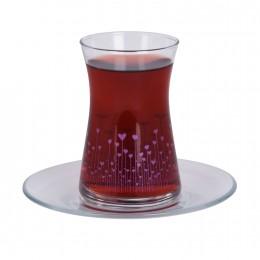 طقم كاسات شاي 6منقوش مع صحن 95483