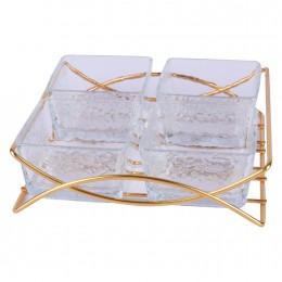طقم 4 صحون زجاج شفاف مقسم بقاعدة
