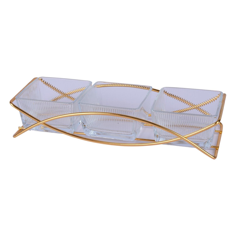 طقم 3 صحون زجاج شفاف مقسم بقاعدة