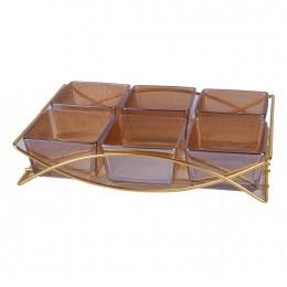 طقم 6 صحون زجاج عسلي مقسم بقاعدة