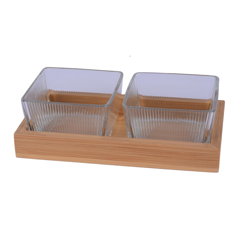 طقم 2 صحون زجاج شفاف مقسم مع صينيه خشب