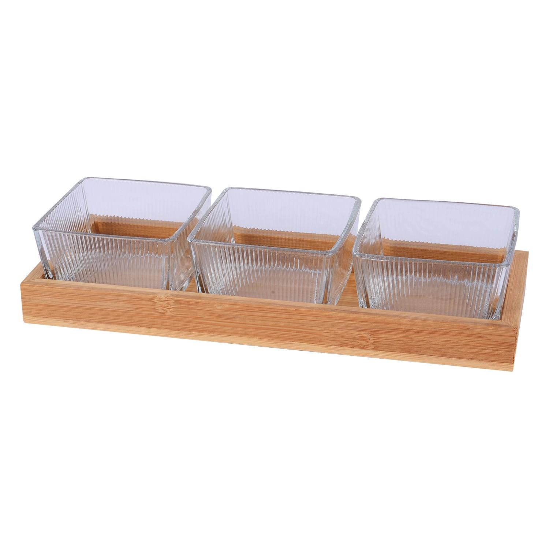 طقم 3 صحون زجاج شفاف مقسم مع صينيه خشب