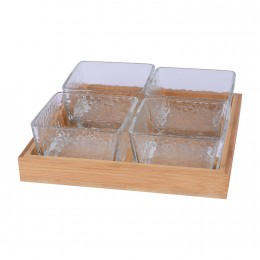 طقم 4 صحون زجاج شفاف مقسم مع صينيه خشب