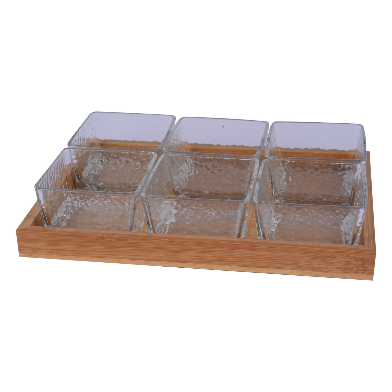 طقم 6 صحون زجاج شفاف مقسم بقاعدة
