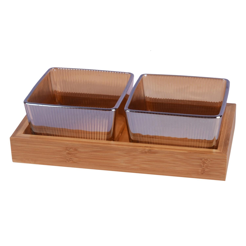 طقم 2 صحون زجاج عسلي مقسم مع صينيه خشب