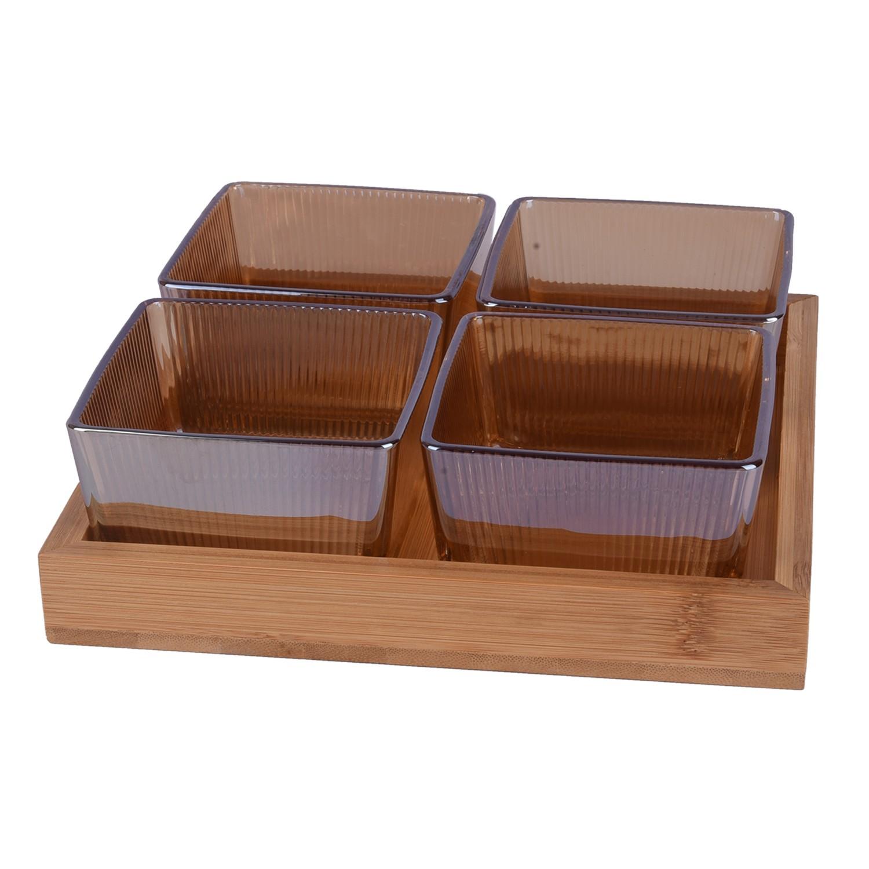طقم 4 صحون زجاج عسلي مقسم مع صينيه خشب