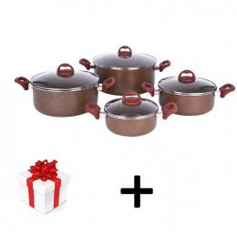 طقم قدور 8قطعة  المنيوم بني  KR23GL7 + هدية مجانية