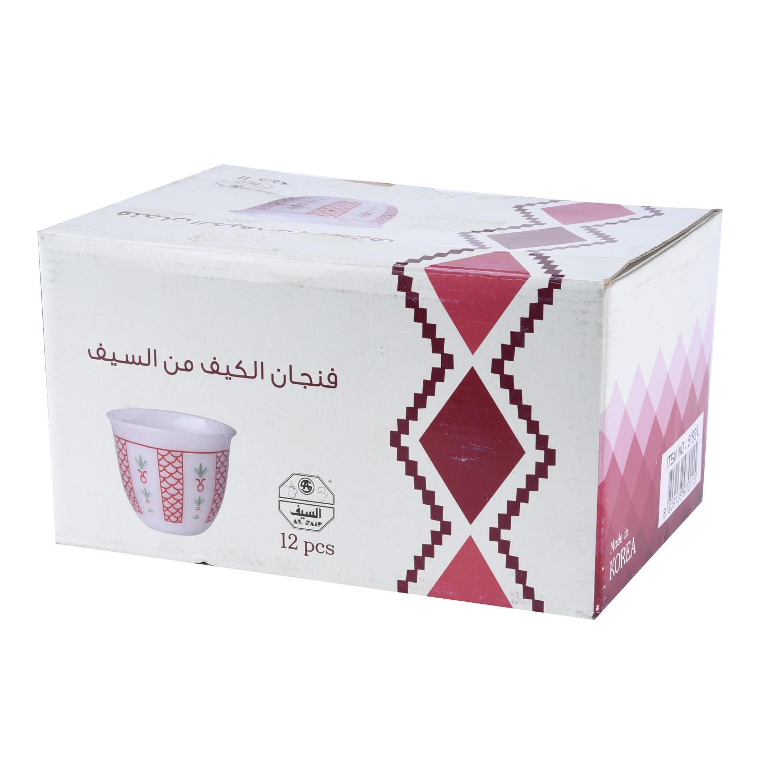 طقم فنجان الكيف احمر كبير ١٢ قطعة 5166/L