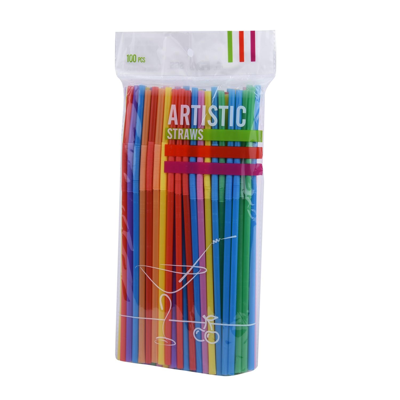 مصاص عصيربلاستيك ملون ١٠٠ قطعة  814906