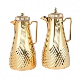 طقم ترمس شاي وقهوة ذهبي بغطاء ذهبي فاخر 1 لتر