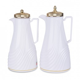 طقم ترمس شاي وقهوة ابيض بغطاء ذهبي فاخر 1 لتر