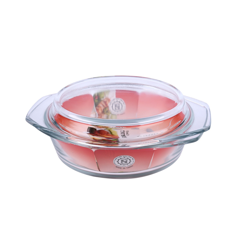 صينية فرن زجاج دائرية بغطاء زجاج 18سم HSAC100