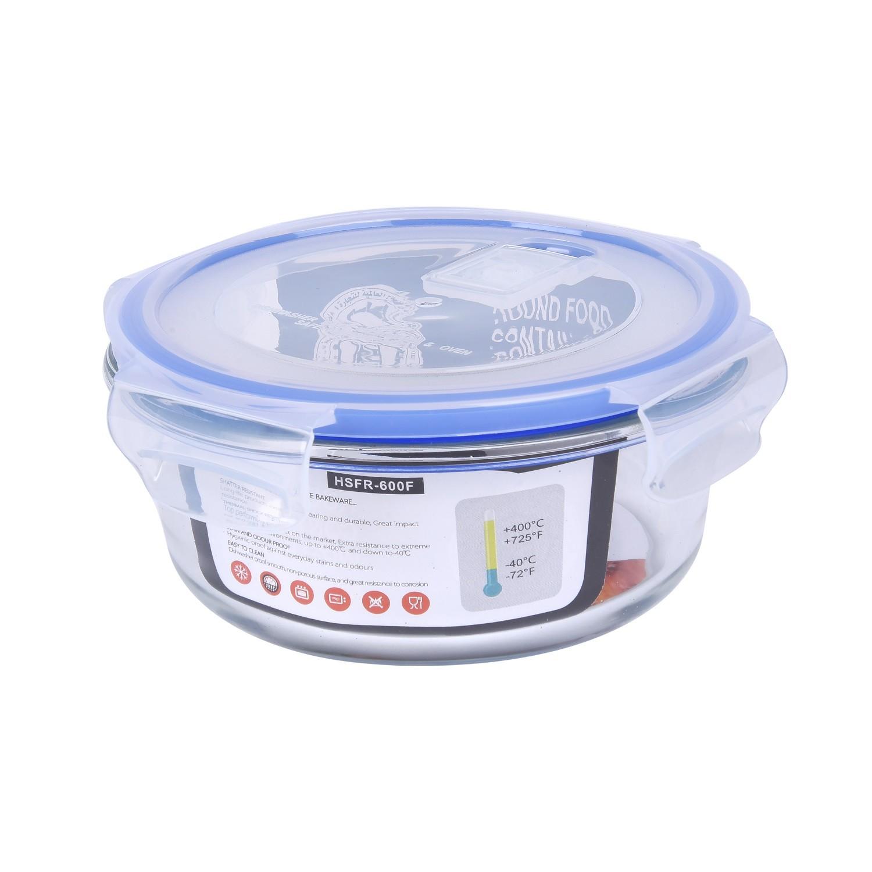 حافظة زجاج مدور بغطاء بلاستيك 12سم  HS30133-4