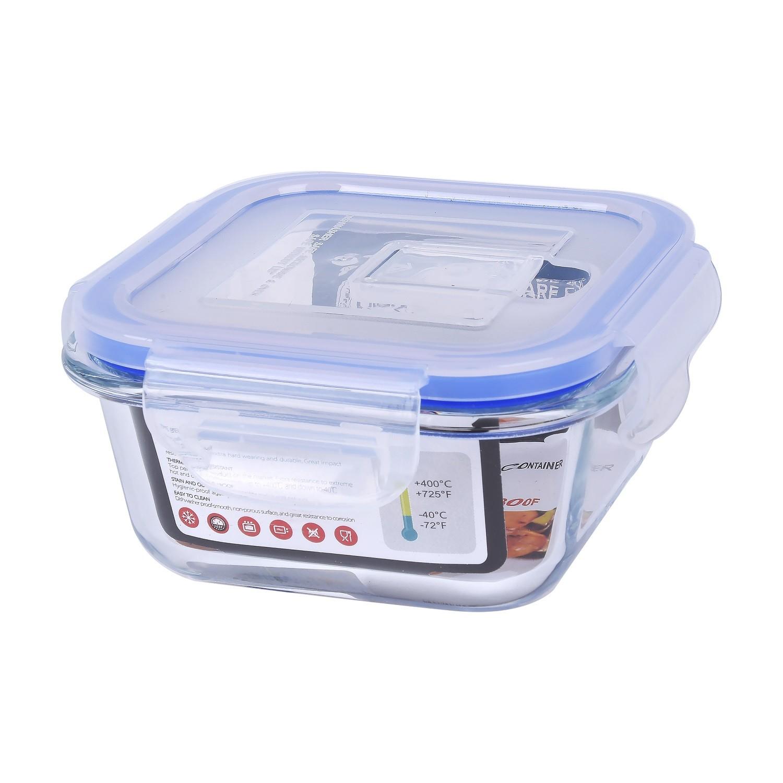 حافظة زجاج مربع بغطاء بلاستيك 10سم HS3014
