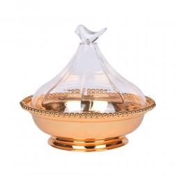 صحن لقيمات ذهبي غطاء اكريلك عصفور 126712