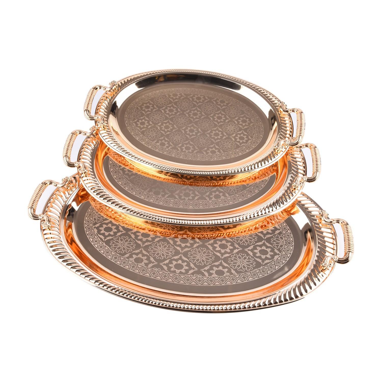 طقم طوفرية ستيل ذهبي منقوش بيضاوي ٣ق T707/3G