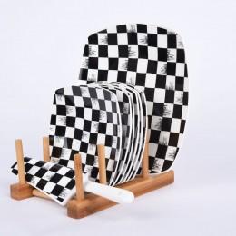 طقم صحون بورسلين مربع بستاند خشبي D-4686