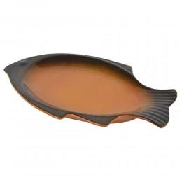 صحن سيراميك سمكة ١٤ سم بني