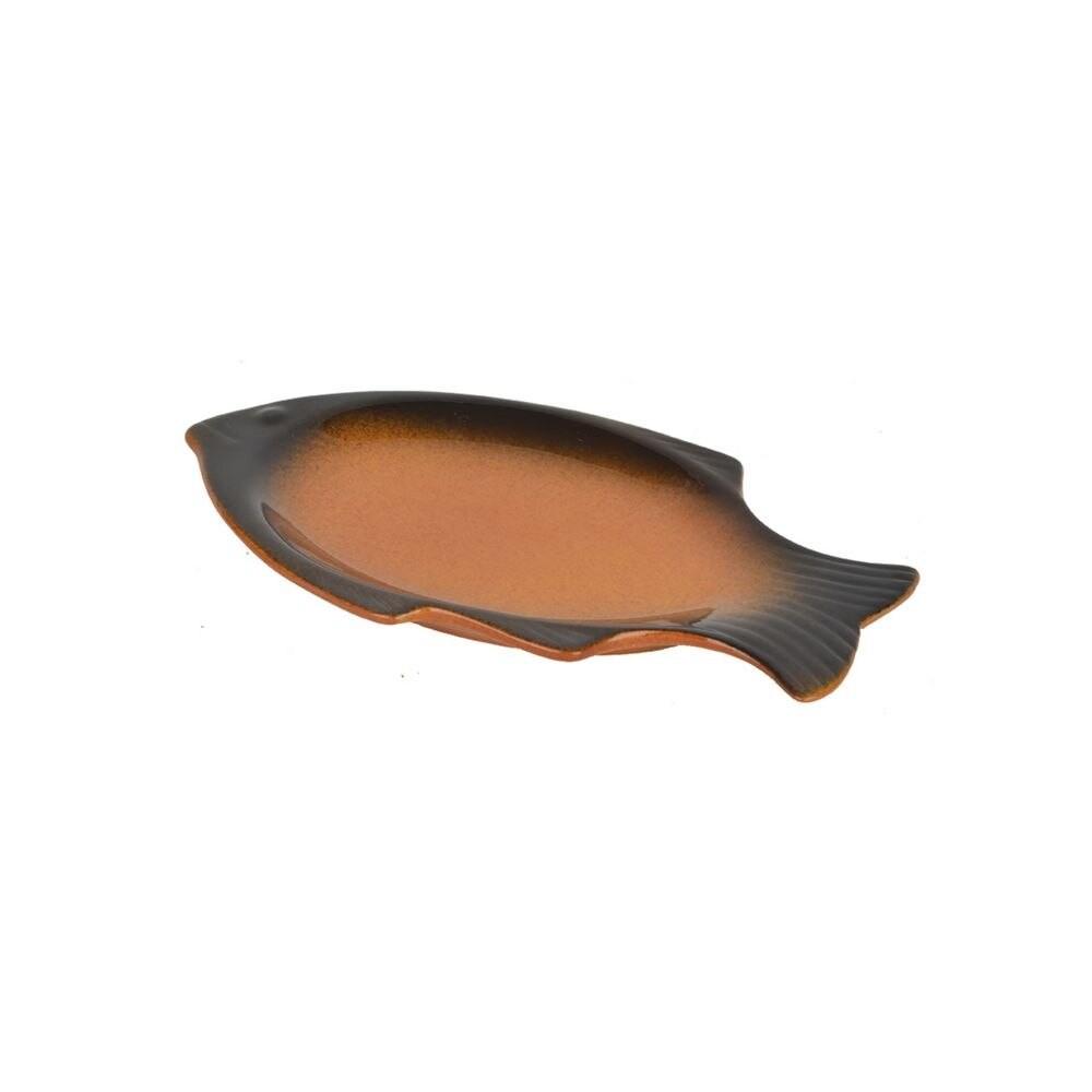 صحن سيراميك سمكة 11 سم بني