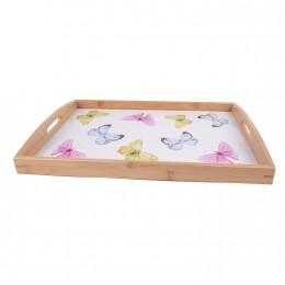 صينية تقديم خشبية مستطيلة رسمة فراشة 22 سم D-4108/2