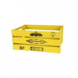 صندوق خشبي مستطيل اصفر  23*15*11سم