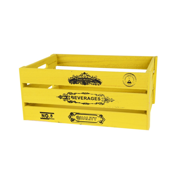 صندوق خشب مستطيل اصفر  28*20*13 سم