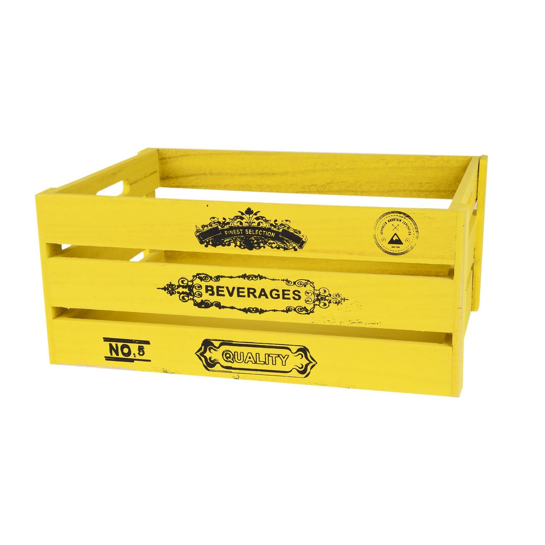 صندوق خشب مستطيل اصفر 34*25*15سم