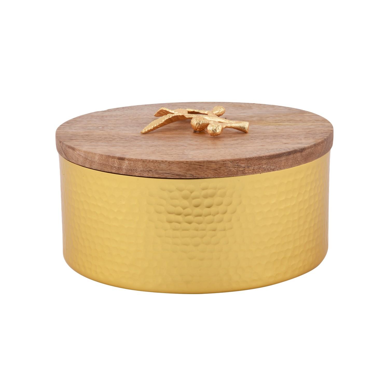 تمرية ذهبية دائرية بغطاء خشبي  LE-835 S